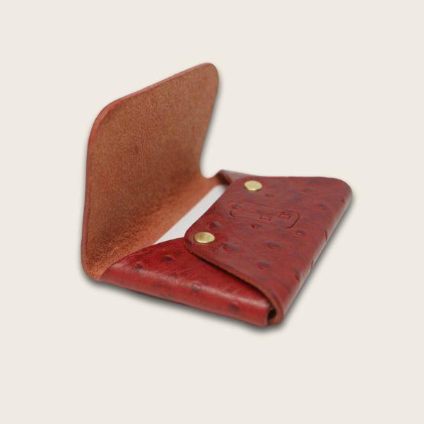 Porte-cartes, en cuir naturel à tannage végétal, rouge autruche, L'Enveloppe