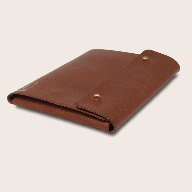 Pochette, chemise pour documents, en cuir naturel à tannage végétal, marron papaya, Le Passeport
