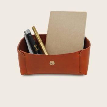 Vide Poche en cuir naturel à tannage végétal, orange, rangement pour meuble d'entrée ou bureau, Damien Béal