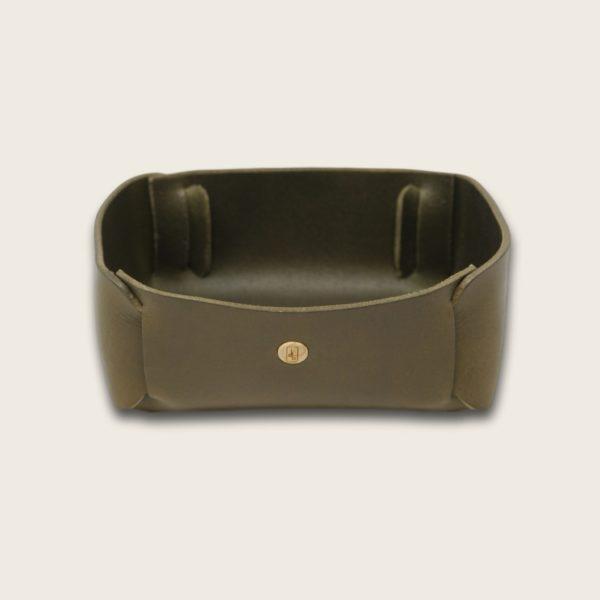 Vide Poche en cuir naturel à tannage végétal, vert olive, rangement pour meuble d'entrée ou bureau, Damien Béal