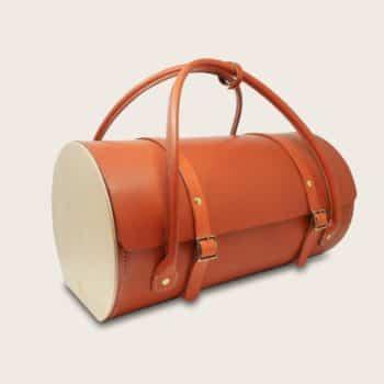 Sac de voyage en cuir naturel à tannage végétal et bois, marron orange, Le Pause Weekend