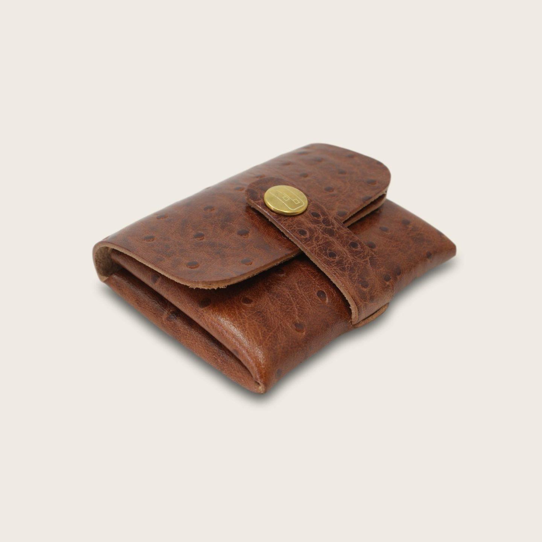 Porte-cartes, porte monnaie, en cuir naturel à tannage végétal, autruche marron , deux en un