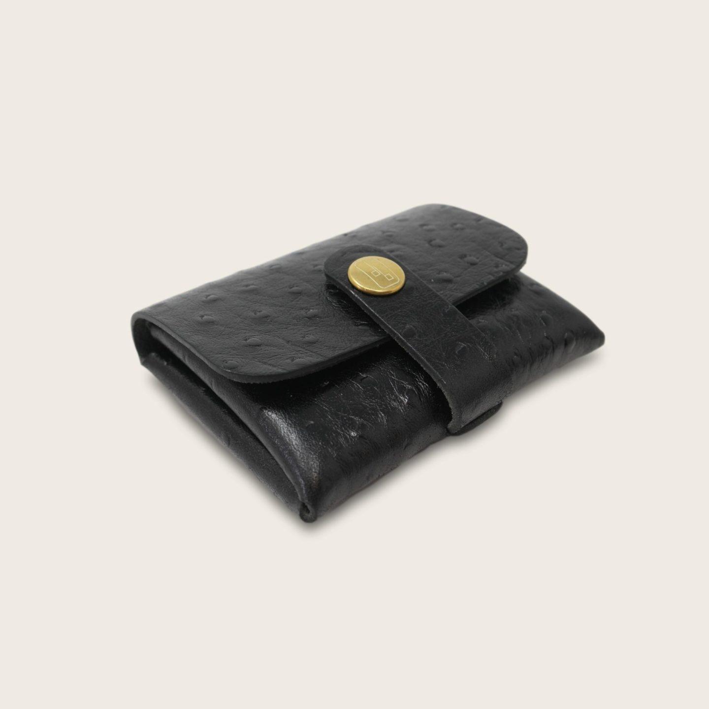 Porte-cartes, porte monnaie, en cuir naturel à tannage végétal, autruche noir , deux en un