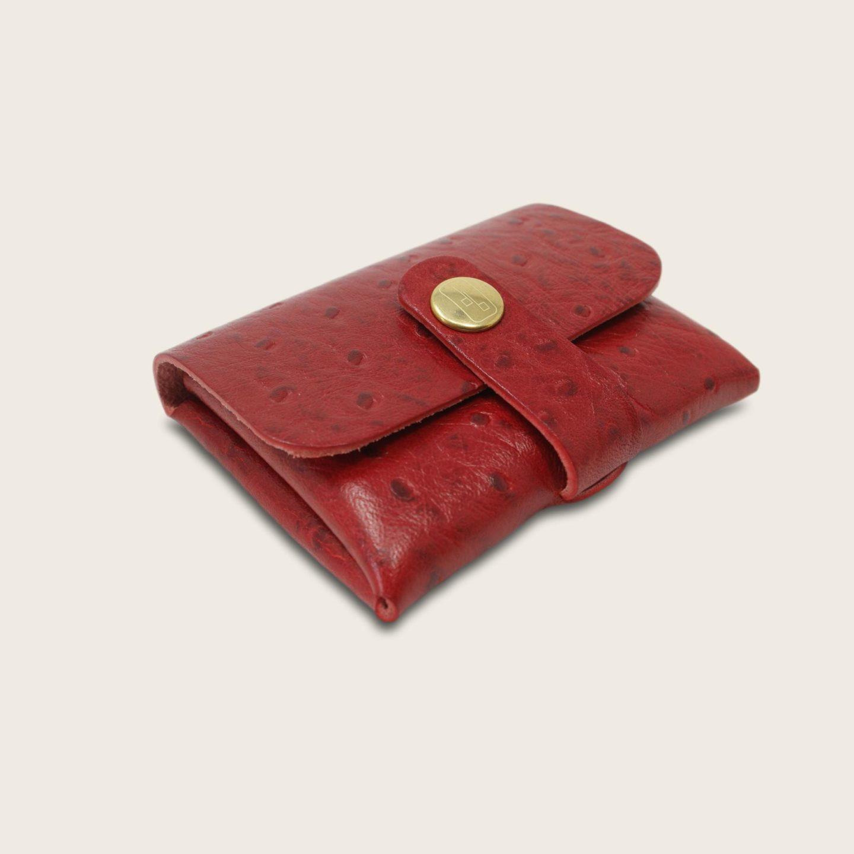 Porte-cartes, porte monnaie, en cuir naturel à tannage végétal, autruche rouge , deux en un