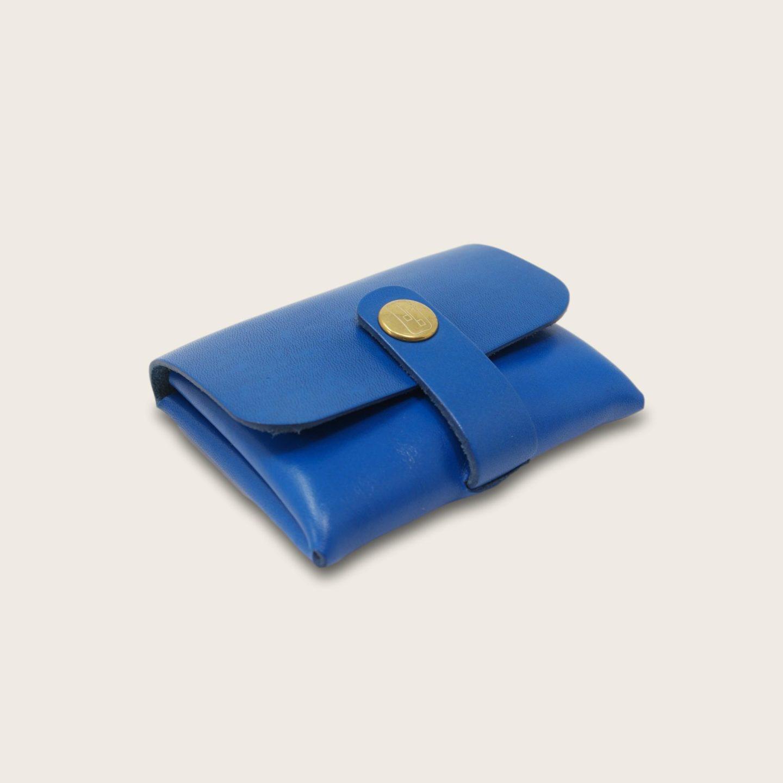 Porte-cartes, porte monnaie, en cuir naturel à tannage végétal, bleu electrique , deux en un